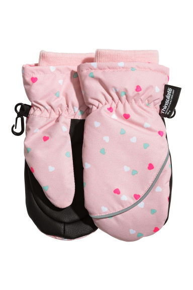 Patterned ski mittens - Light pink/Hearts -  | H&M 1