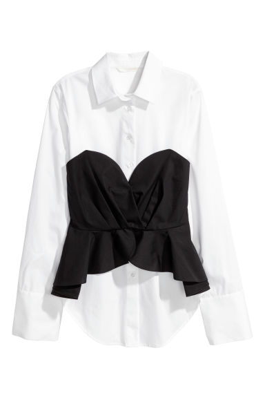 Cotton blouse with bustier - White/Black - Ladies | H&M CN 1