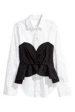 Cotton blouse with bustier - White/Black - Ladies | H&M CA 2