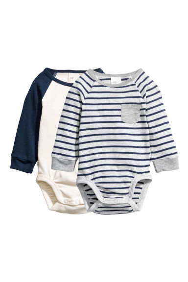 2-pack long-sleeved bodysuits - Dark blue/Striped - Kids | H&M CN 1