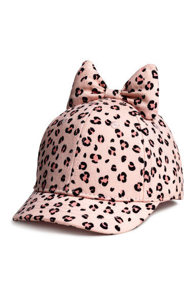 Cap with a bow - Light pink/Leopard print - Kids | H&M