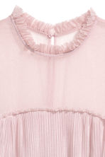 Pleated mesh dress - Powder pink - Ladies | H&M CN 3