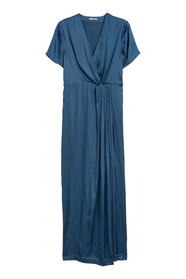H&M+ Long satin dress - Blue - Ladies | H&M