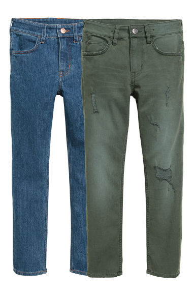 Lot de 2 Skinny Fit Jeans - Vert kaki/bleu denim - ENFANT | H&M BE