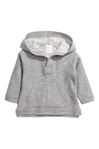 Hooded fine-knit cotton jumper - Grey marl - Kids | H&M 1