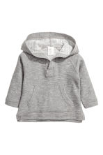 Hooded fine-knit cotton jumper - Grey marl - Kids | H&M CN 1