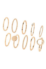 10-pack rings - Gold-coloured - Ladies | H&M IE 1