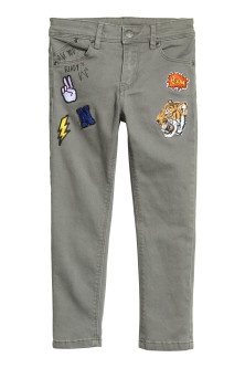 Twill trousers with patches