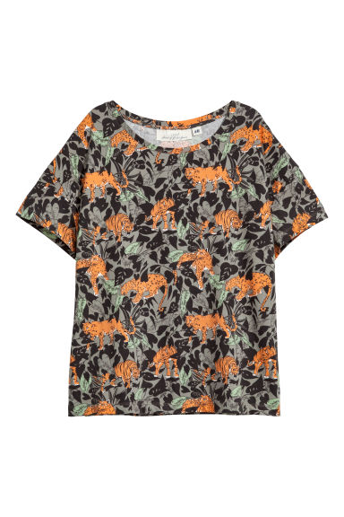 Patterned jersey top - Khaki green/Patterned - Ladies | H&M CN 1