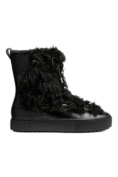 Pile-lined boots - Black - Ladies | H&M CN