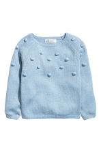 Knitted jumper with pompoms - Light blue/Glittery -  | H&M 2