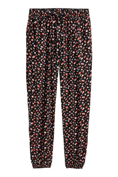 Pull-on trousers - Black/Floral -  | H&M