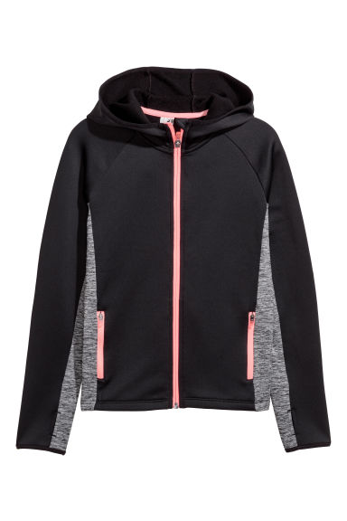 Hooded sports jacket - Black -  | H&M CN 1