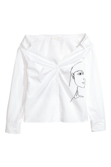 Cotton blouse - White - Ladies | H&M CN