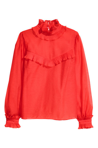 Frilled crêpe blouse - Bright red - Ladies | H&M