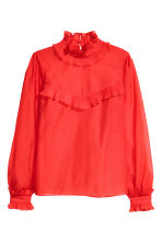 Frilled crêpe blouse - Bright red - Ladies | H&M GB 2