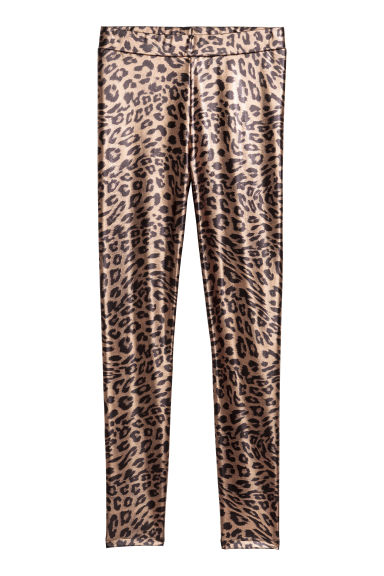 Shimmering leggings - Rust/Leopard print - Ladies | H&M