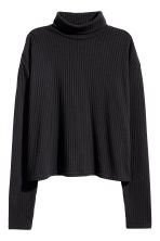Ribbed polo-neck jumper - Black - Ladies | H&M CN 2