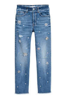 Slim High Jeans with diamante