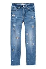 Slim High Jeans with diamante - Denim blue - Ladies | H&M 2