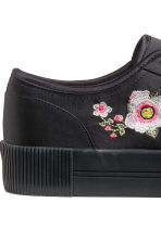 Embroidered trainers - Black/Satin -  | H&M GB 4