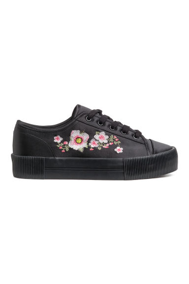 Embroidered trainers - Black/Satin -  | H&M GB 1