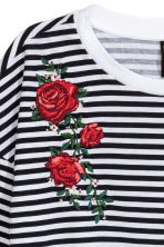 Jersey top with embroidery - Dark blue/White striped - Ladies | H&M 3