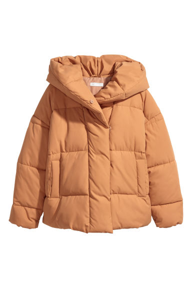 Padded jacket with a hood - Camel - Ladies | H&M