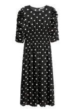 Dress with smocking - Black/White spotted - Ladies | H&M CN 2