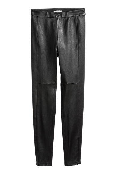 Leather trousers - Black -  | H&M