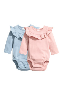 2-pack frill-trimmed bodysuits