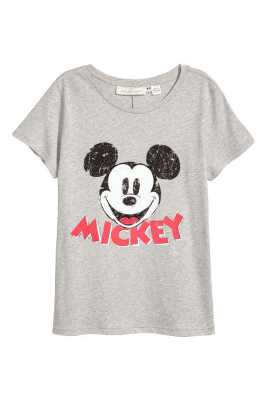 Wijd T-shirt - Grijs/Mickey Mouse - DAMES | H&M BE 1