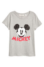 寬鬆上衣 - Grey/Mickey Mouse - Ladies | H&M 1