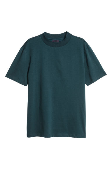 Mercerised cotton T-shirt - Dark petrol - Men | H&M