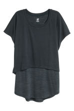 Double-layered sports top - Dark blue - Ladies | H&M CN 2
