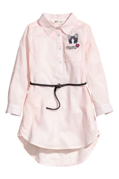 Shirt dress - Light pink/White striped -  | H&M CN 1