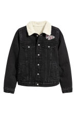 Pile-lined denim jacket - Black - Kids | H&M CN 2