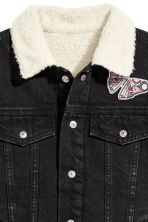 Pile-lined denim jacket - Black - Kids | H&M CN 3