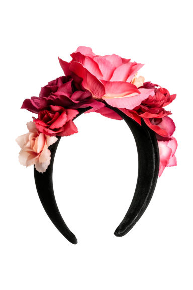 Alice band with flowers - Black/Pink - Ladies | H&M CN 1