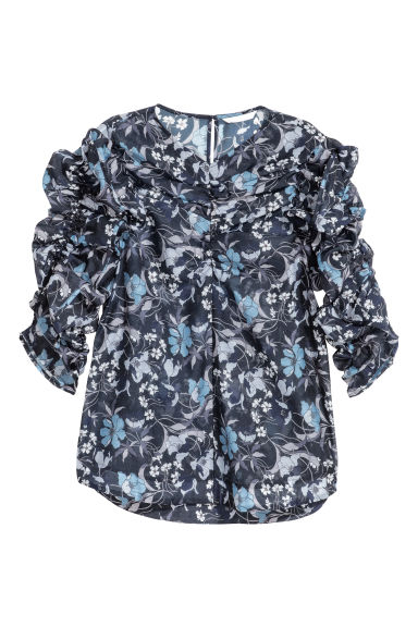 Blouse with gathered sleeves - Dark blue/Floral - Ladies | H&M