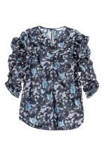 Blouse with gathered sleeves - Dark blue/Floral - Ladies | H&M CN 2
