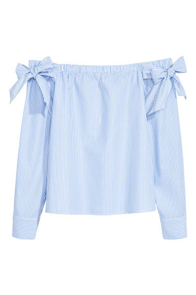 Off-the-shoulder blouse - Blue/Striped -  | H&M