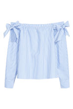 Off-the-shoulder blouse - Blue/Striped -  | H&M IE 1