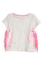 Jersey top with fringes - Light grey/Unicorn - Kids | H&M CN 2