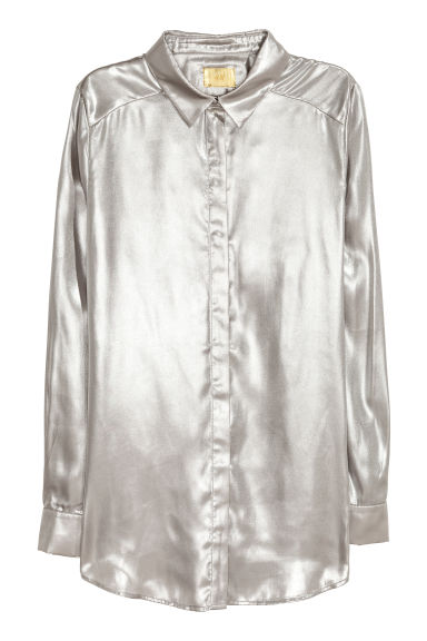 Shimmering metallic shirt - Silver-coloured - Ladies | H&M IE