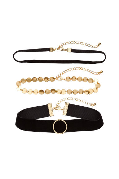3-pack chokers - Gold-coloured/Black - Ladies | H&M