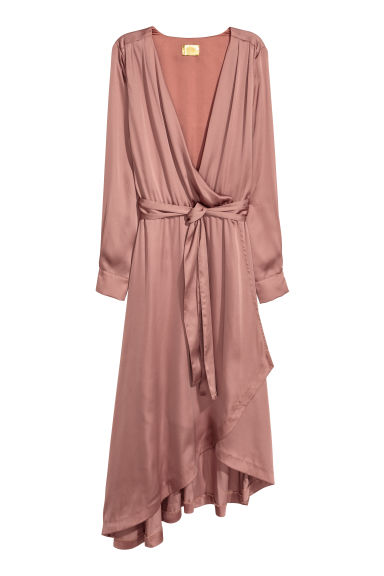 Satin wrap dress - Pink - Ladies | H&M
