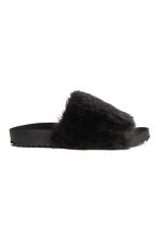 Slides with faux fur - Black - Ladies | H&M 1