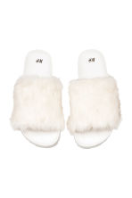 Slides with faux fur - White - Ladies | H&M 2
