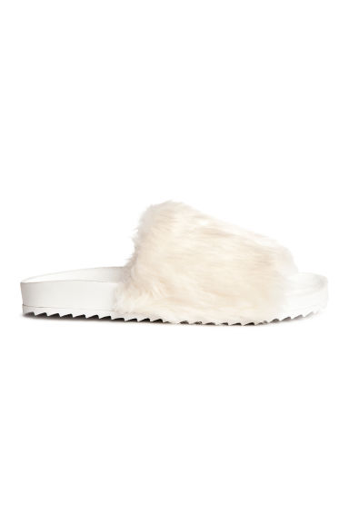 Slides with faux fur - White - Ladies | H&M 1
